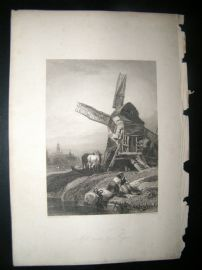 Belgium 1838 Antique Print. Windmill near the Hague